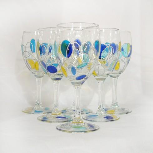 Verres à eau peints à la main