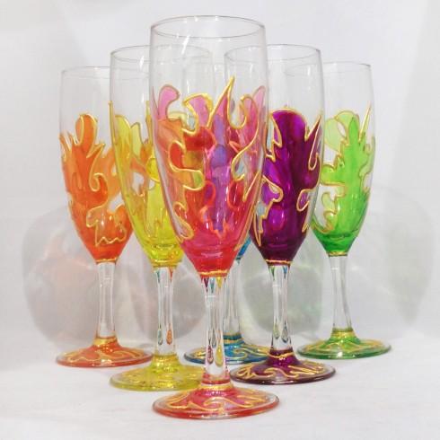 Coupes à champagne peints à la main