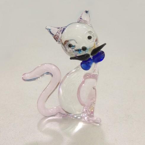 Petit chat rigolo rose en verre