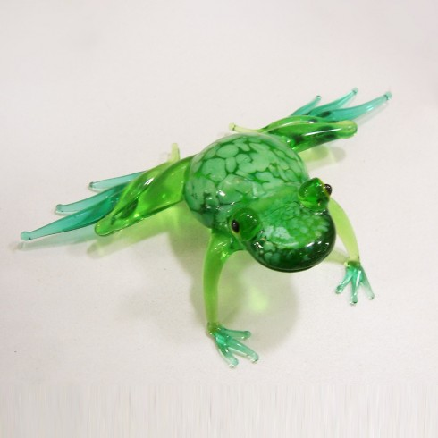 Grande grenouille en verre