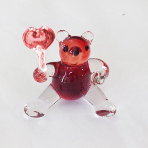 Ours et coeur en verre