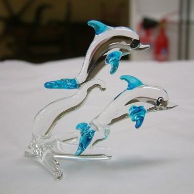 Couple de dauphins en verre