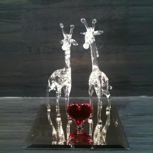 Couple de girafe en verre