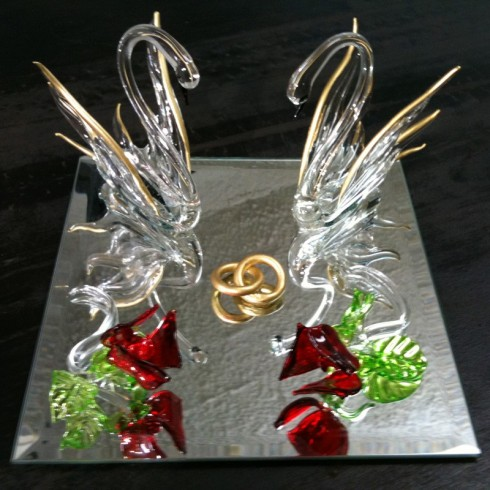 Couple de cygnes en verre