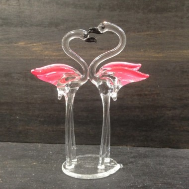 Flamant rose en verre