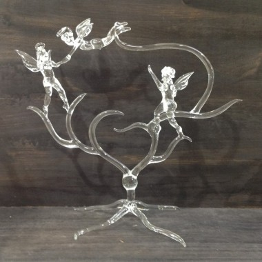 Grand trio d'anges en verre