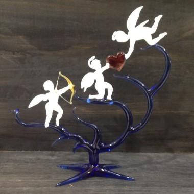 Trio d'anges coloré en verre