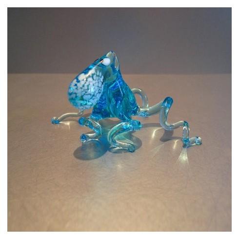 Pieuvre bleue en verre