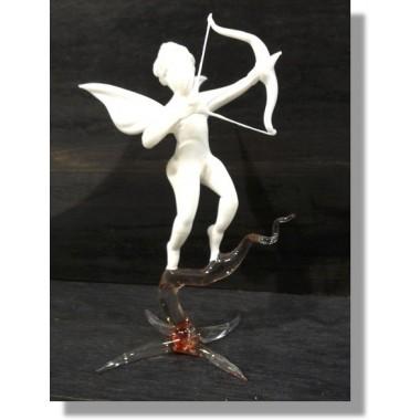 Ange Cupidon en verre blanc en verre