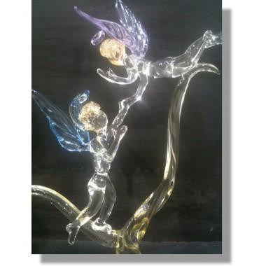 Ange en verre de couleurs bleu et rose