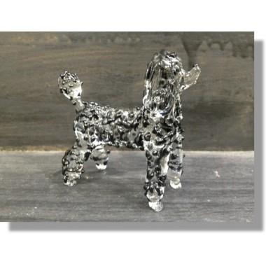 Caniche en verre noir et transparent