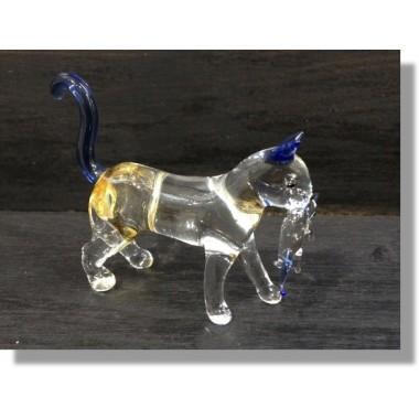 Chat en verre avec son bébé bleu transparent