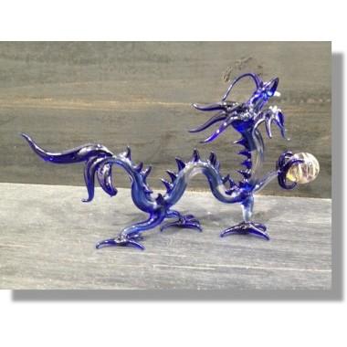 Dragon en verre bleu