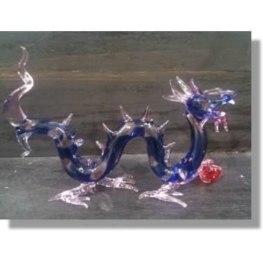 Dragon chinois bleu et rose en verre