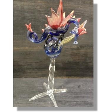 Dragon en verre bleu et rouge