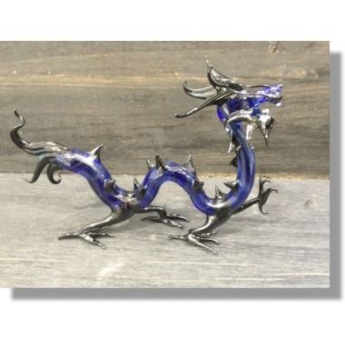 Dragon chinois en verre bleu et noir