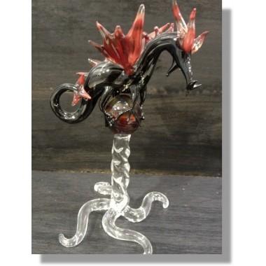 Dragon en verre noir avec sa boule de cristal