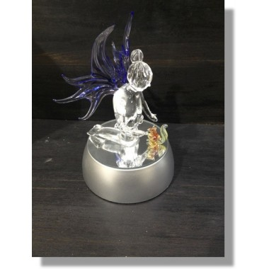 Fée en verre avec un écureuil et socle lumineux