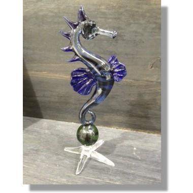 Hippocampe en verre bleu et vert