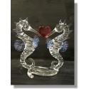Couple d hippocampe en verre avec cœur rouge