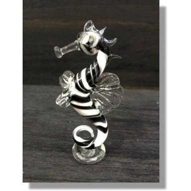 Hippocampe en verre noir et blanc