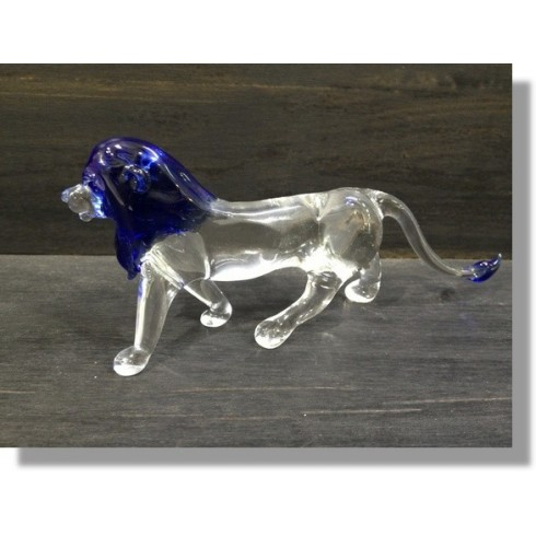 Lion bleu en verre