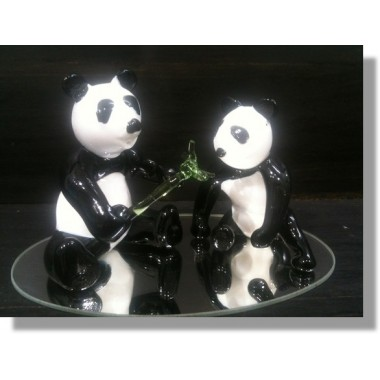 Couple de pandas en verre