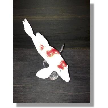 Poisson chinois en verre rouge et blanc