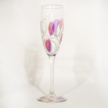 Grandes flûtes à champagne peintes à la main