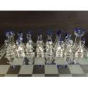 16 pièces de jeu d'échec en verre