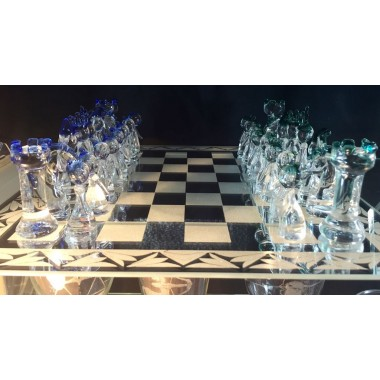 32 pièces de jeu d'échec + miroir gravé