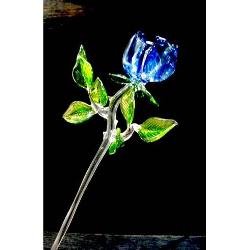 Grande rose rouge en verre