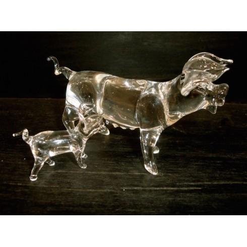 Cochon et son bébé en verre