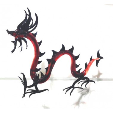 Dragon chinois en verre rouge