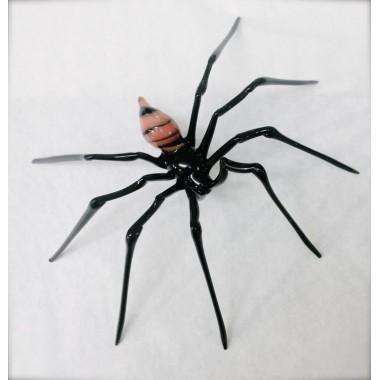 Araignée rayée rouge et noir en verre
