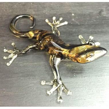 Salamandre jaune et noir en verre