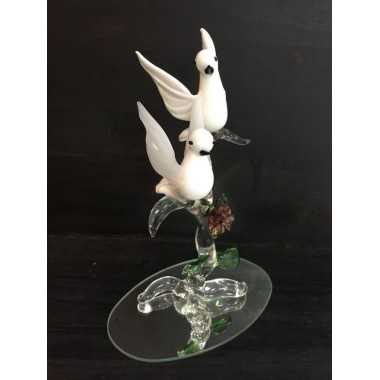 couple de colombes en verre