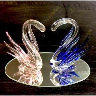 Cygne couple verre