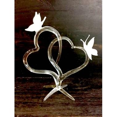Papillons sur coeur en verre