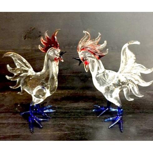 Coq en verre bleu, blanc, rouge