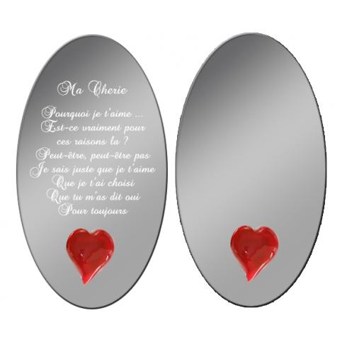 Miroir message gravé et coeur personnalisé en ligne