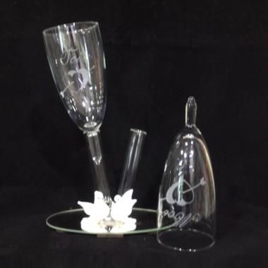 Verres Duo colombes blanche en verre