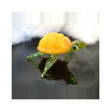 Tortue jaune en verre