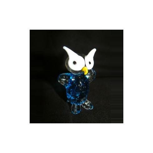 Chouette bleue en verre