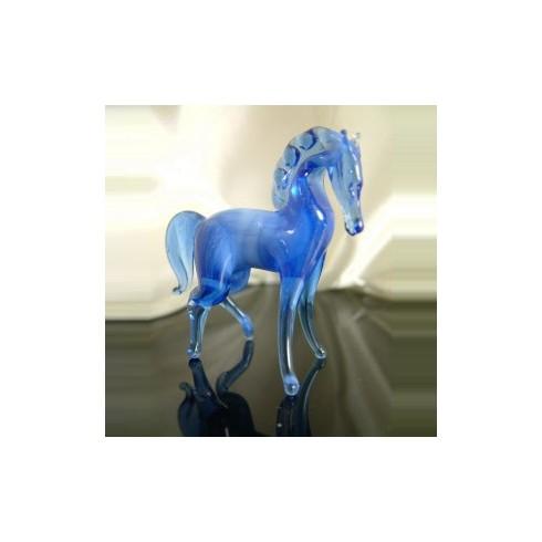 Cheval bleu en verre en verre