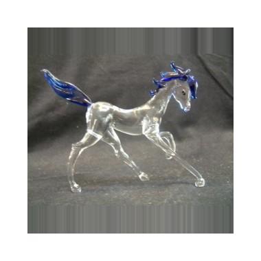 Cheval au pas en verre