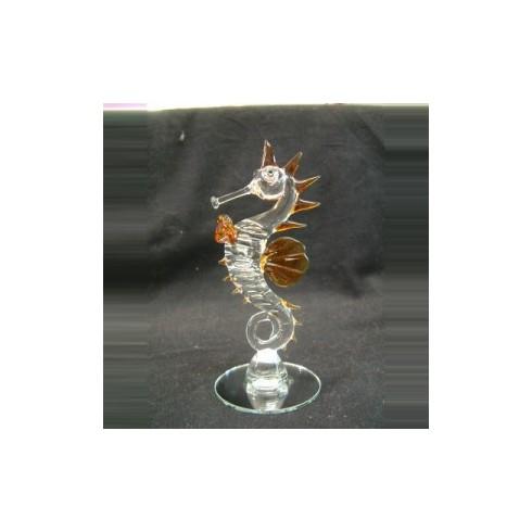 Hippocampe sur miroir en verre