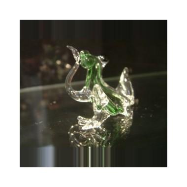 Grenouille assise en verre