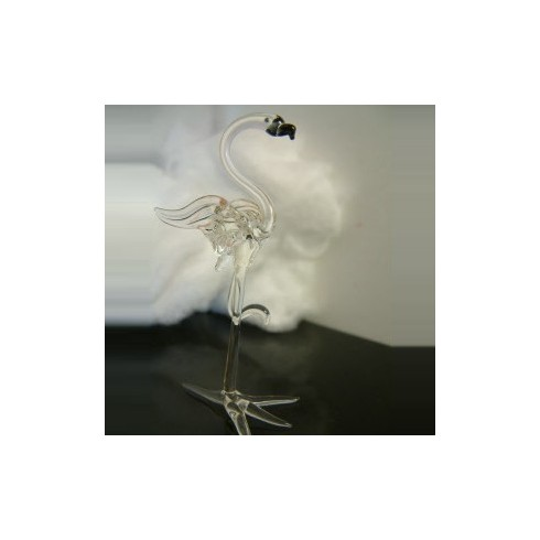 Flamant rose transparent en verre