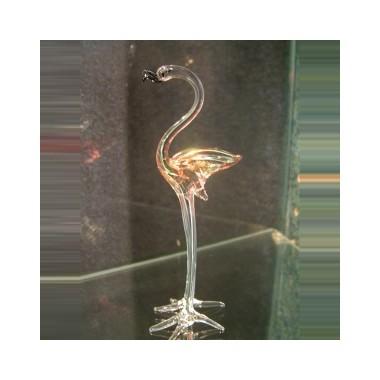 Flamant rose coloré en verre